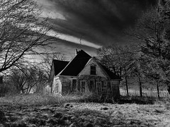 even santa has his limits.... (BillsExplorations) Tags: santa christmas abandoned abandonedhouse abandonedfarm abandonedillinois decay ruraldecay rural forgotten oncewashome shuttered discarded tree farmhouse field blackandwhite monochrome sky clouds