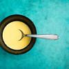 Pudding powder dissolvied in milk. (annick vanderschelden) Tags: bowl powder white blue tablespoon puddingpowder thickener food pudding dessert cornstarch aroma riboflavine lighteffect belgium