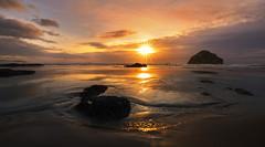 Sunset at the Ocean (Bandon, Oregon Coast) (Sveta Imnadze) Tags: bandon oregon pacificocean reflection seastacks facerock