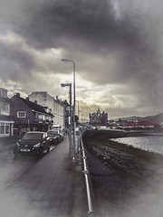Walking in Oban (Colormaniac too - Many thanks for your visits!) Tags: oban downtown cityscape scotland uk europe travel landscape outdoors blackwhite monochrome digitalpainting clouds topazstudio netart ii