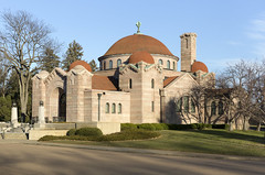 1909 Lakewood Memorial Chapel in Minneapolis, Minnesota designed by architect Harry Wild Jones in a Byzantine Revival Style.  The design was based on the Hagia Sophia in Istanbul, Turkey (thstrand) Tags: 19001909 1908 1909 american architecturalstyle architecture beigegranite building buildings builtstructure byzantinerevival chapels charleslamb christian christiansymbols church dome early20thcentury exterior gustavinotile harrywildjones historicsite history lakewoodcemetery mn memorialchapel minneapolis minnesota nationalregisterofhistoricplaces nobody outside religion religious roof saintcloud sanctuary stcloudgranite stone structures tile tiles travel us usa unitedstatesofamerica