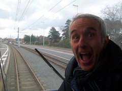 Excitement at getting the back seat of the tram (TeaMeister) Tags: train trains boat interrail seat61 belgium belgian coast ostend tram beach skies sculpture cartoons europe europeanunion unioneuropeenee beer chocolate createyourownstory