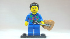 Brick Yourself Custom Lego Figure Girl in Blue Pyjamas with Guitar