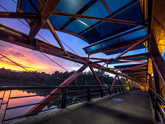 Sunset over bridge (Henry Sudarman) Tags: olympus omd em1 handheld slowspeed depok jawabarat ui architecture arsitektur bridge sunsetoverthebridge sunset lumix71440