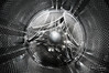 Washing machine fisheye (PaulHoo) Tags: samyang 8mm fisheye washing machine steel iron fineart abstract monochrome blackandwhite nikon d300s