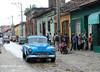 Blue Car on Cobblestone Road (Fenfotos) Tags: trinidad cuba cienfuegos vintagecar cobblestone streetphotography street road architecture colonial cuban fujifilm xt2