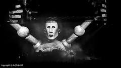 Queen - News of the World (Holfo) Tags: queen concert gig rock newsoftheworld album nikon p7800 music adamlambert birmingham robot superb giant projection monochrome video big lifts character