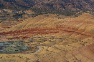 Overview of the Painted Hills at sunset