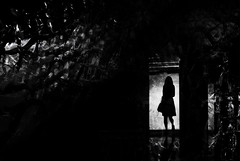 ...lost... (*ines_maria) Tags: dmcgx8 panasonic mono blackandwhite people reflection light abstract shadow silhouette adult art monochrome dark blur lonely tunnel one escape spotlight net urbanart street darkness backlit loneliness solitude woman person deep mood atmosphere blancetnoire bw black