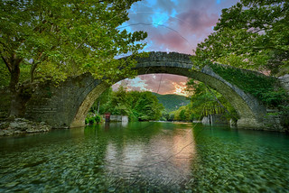 Sunset at Klidhonia's stone bridge