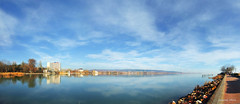 Lake and reflection (Szemeredi Photos/ clevernails) Tags: hungary keszthely balaton lake reflection building plant tee walk holiday recretation festing wheather christmas winter panorama beach sky clouds blue color december