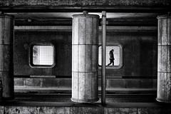 Tunnel Vision (*Chris van Dolleweerd*) Tags: woman street streetphotography chrisvandolleweerd urban architecture girl walking tunnel underpass bw