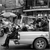 Smiling Thai girls (John Riper) Tags: johnriper street photography straatfotografie square vierkant bw black white zwartwit mono monochrome chiangmai thailand candid john riper xt2 fujifilm xf18135 girls scouts pickup truck smiles smiling happy burger king phone