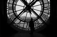 (cherco) Tags: clock reloj mujer museum museo france paris blackandwhite blancoynegro city ciudad lonely solitario solitary silhouette silueta sombra shadow street solo soledad composition composicion canon light luz loner alone aloner chica