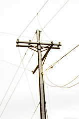 Crux (AliferousEquus) Tags: snow power lines cables telephone pole wires texas cold