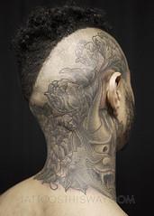 Black and Grey Tattoos (tattoosthisway) Tags: poc darkskin peony necktattoo flower floral tattoo toronto blackandgrey blackandgray blackandwhite aliek best femaleartist ladytattooer femalefriendlystudio
