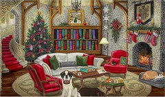Day 16-A Nice Warm Place To Rest (✈Busy-Off To Canada Today!✈) Tags: adventcalendar day16 screenshot cozy room dogs resting jacquielawson calendar