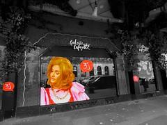 Untitled PARIS ,LES GRANDS MAGASINS  BLD HAUSSMANN   9eme   vitrines des galeries Lafayette  pendant les 3J(n&b  et la touche  de couleurs (closier.christophe) Tags: galerièslafàyette paris haussmann magasins france vitrines publicités 3j