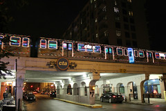 Santa's Express [Explored 12/19/17] (Flint Foto Factory) Tags: chicago illinois urban city winter december 2017 north edgewater night nocturnal evening cta chicagotransitauthority santa santas express train christmas holiday granville winthrop broadway overpass underpass redline elevated l lights festive sunday neighborhood flickr explore explored
