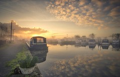 A Golden Start (Captain Nikon) Tags: morninglight winter reflections mist misty narrowboats sawleycut leicestershire lockhouse waterway longeaton england atmospheric moody sunrise golden planter greatbritain uk landscapephotography landscapes