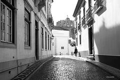Faro 12,35 (rossendgricasas) Tags: street pedestrian alley monochrome city sidewalk cobblestone urban step brooklyn heights underground walkway portugal faro bw clock watch nikon photography photoshop