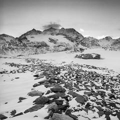 Bernina Pass (zanettifoto) Tags: pontresina schnee berninapass graubünden herbst schweiz ilfordhp5plus himmel schwarzweissfotografie ilfordlc29 berg gletscher sonnenuntergang abend stein che