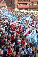Onda (Wave) Celebrates Winning The Palio, Siena, Tuscany, Italy (alextsui86) Tags: siena tuscany palio italy pagentry tradition civic pride rivalry horse race medieval piazza del campo contrada onda wave win winners celebration