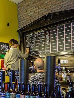 Writing the menu board in the Market Craft Pub - Valencia (High ISO) (Fujifilm X100F 23mm f2 Compact) (1 of 1)