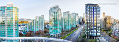 Vancouver panoramic view (Rey Cuba) Tags: vancouver canada buildings architecture architectural travel streets streetphotography morningtraffic traffic balcony sunlight panorama city tall