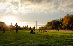 Golden Hour at the National Mall (ep_jhu) Tags: x100f bicycle washington bicicleta sol bike dc fujifilm light sun girl biker nationalmall woman fuji provia mujer goldenhour flare sunset clouds districtofcolumbia unitedstates us ec17