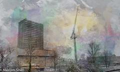 Alma Estate (M C Smith) Tags: railway pentax k3 trees winter crane green purple yellow blue flats demolition gantry scaffolding sheeting white grass weeds bushes sky