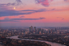 Canary Wharf Dusk (Douguerreotype) Tags: moon england london dark uk river water docklands british cityscape buildings architecture city thames britain night gb urban canarywharf