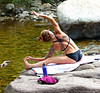 Creekside Stretching (Carl Neufelder) Tags: babe female colorado boulder exercise stretch stretching tattoo