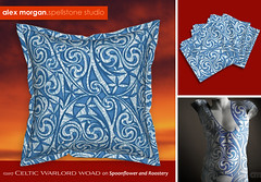 Celtic Warlord woad (Spellstone) Tags: tattoo bodyart green fairy warrior blue woad spellstone spoonflower roostery art craft design surface pattern society6 alexmorgan pillow cushion phonecase textile fabric wallpaper totebag tote clock wallclock mug rug pouch laptopskin clothing apparel sewing curtains