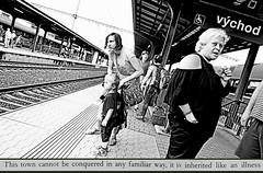 Adios, Východ! (kirstiecat) Tags: východ prague czechia monochromemonday monochrome blackandwhite noiretblanc people strangers adioscowboy novel book literature read oljasavičevićivančević train tracks
