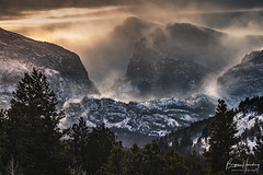 Winter Smoke - Rocky Mountain National Park, Colorado (www.rootsstudiophoto.com) Tags: rockymountainnationalpark coloradophotography rockymountains mountains storm wind snow sunset sky winter danger treeline power nature landscapephotography mountainphotography