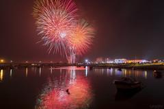 New Year (Paulo Calafate) Tags: canon5dmarkiv tokinaatx1628mmf28profx firework sea boats night longexposure póvoadevarzim portugal harbour lights newyear
