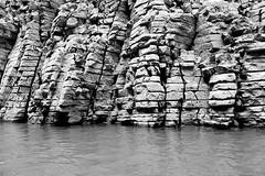 Wushan Goddess Scenic Zone Cruise (oxfordblues84) Tags: peoplesrepublicofchina china oat overseasadventuretravel victoriacruises victoriajenna victoriajennacruise rivercruise riverboatcruise yangtzerivercruise yangtzeriver goddessstream wushangodesssceniczonecruise wushan threerivergorge gorges river water riverbank bw blackandwhite gorgewall stonewall stone