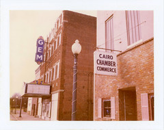 Cairo, IL (moominsean) Tags: polaroid195 instant type690 expired062009 illinois cairo midwest downtown gem theater abandoned chamber commerce
