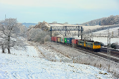 Winter's Grip (whosoever2) Tags: england unitedkingdom uk gb greatbritain nikon d7100 december 2017 railway railroad train freightliner class86 86614 86610 4l90 whitmore staffordshire snow winter ice cold
