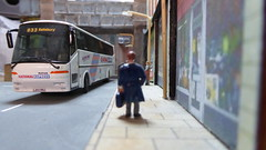 National Express to Salisbury. (ManOfYorkshire) Tags: bova futura bus coach diecast ooc highst highstreet diorama 176 scale oogauge homemade salisbury wiltsdorset nationalexpress route033