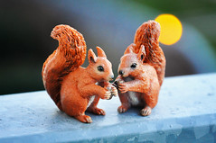 """Day 360/365 - """"Two"""" (Little_squirrel) Tags: 365the2017edition 3652017 day360365 26dec17 two squirrels orange caople animals animal figures composition nuts eating love adorable"""