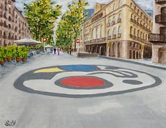 """Ramblas"" (svet.llum) Tags: óleo pintura cuadro barcelona catalunya cataluña ramblas ciudad miró calle paisaje paisatge arte"