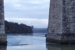 6275 Pont Britannia through Pont Grog y Borth (Andy - Busy Bob) Tags: bbb bluehour bridge menaibridge menaistraits menaisuspensionbridge mmm pontbritannia pontgrogyborth ppp seawater sss water www