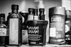 7 Day Black & White Challenge (Katherine Ridgley) Tags: 7dayblackwhitechallenge challenge blackwhite blackandwhite monochrome shelf bathroom oil cream lotion deodorant