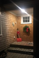 Shovel (brucetopher) Tags: winter christmas cold shovel bow decoration doorway light porch alcove entry enter door window wreath holiday cheer cheerful