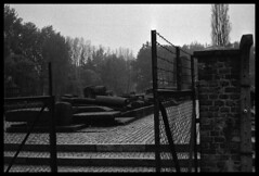 Auschwitz. Goes through the non-return (marcobertarelli) Tags: auschwitz history historical place fear desolated monochrome monochromatic poland hell ruins bw never forget