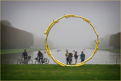(GOLD) ART INSTALLATION, VERSAILLES (Aliy) Tags: scavengerhunt 2018 versailles canal lake goldencricle sculpture ring gold circle