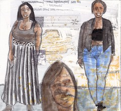 # 247 2018-01-06 (h e r m a n) Tags: herman illustratie tekening 10x10cm tegeltje drawing illustration karton carton cardboard kunst art drievrouwen threewomen
