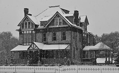 first snow, 2017 (Mannington Creek) Tags: monochrome blackandwhite old house wenonah snow historic december dusk outdoors